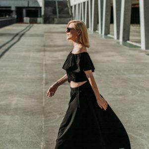 Maxi krilo Black / Maxi skirt Black